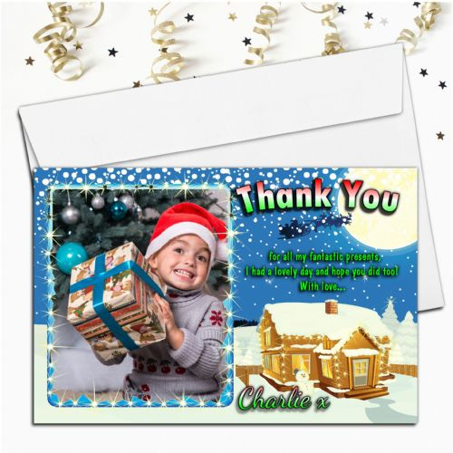 10 Personalised Christmas Xmas Sparkle Thank you PHOTO Cards N46